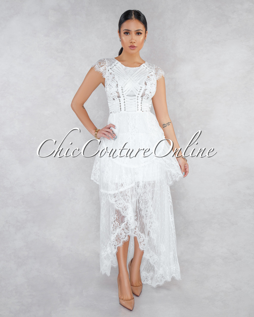 32dca195356 Desiree Off-White Lace Overlay Maxi Dress. Price   100.00. Image 1. Larger    More Photos