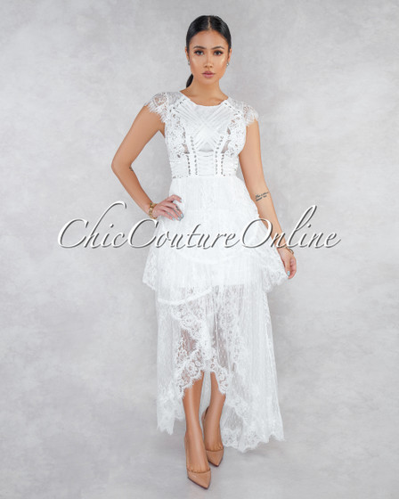 Desiree Off-White Lace Overlay Maxi Dress