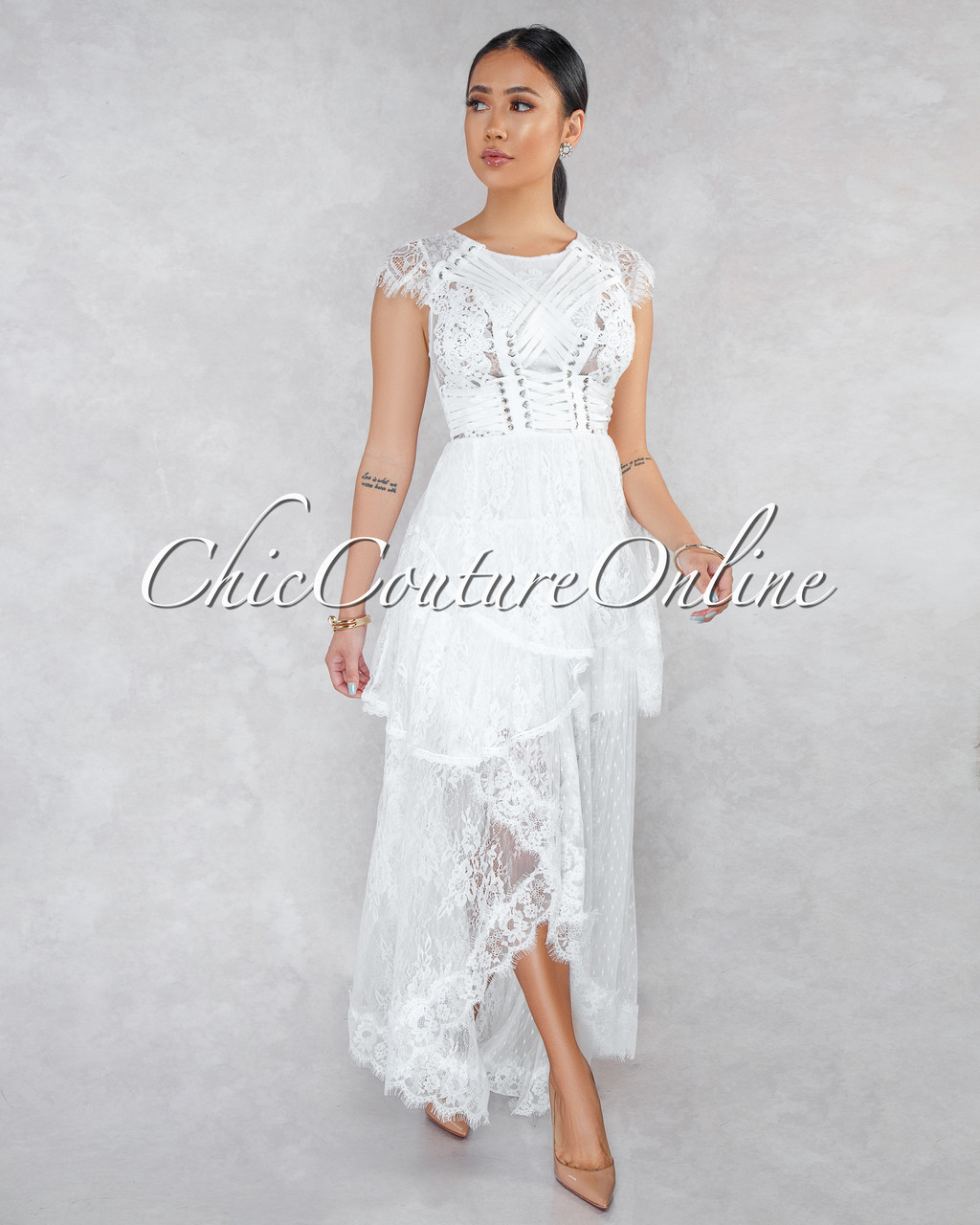 9ca280c0972 Desiree Off-White Lace Overlay Maxi Dress