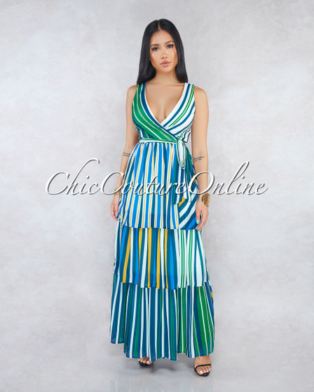 Said Navy Blue Green Stripes Ruffle Tier Maxi Wrap Dress