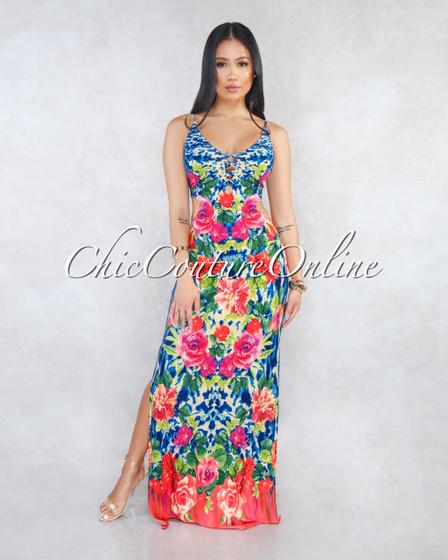 Kylana Beige Multi-Color Floral Print Cut-Out Maxi Dress