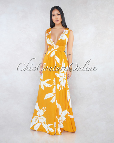 Stassia Mustard White Floral Print Halter Maxi Dress