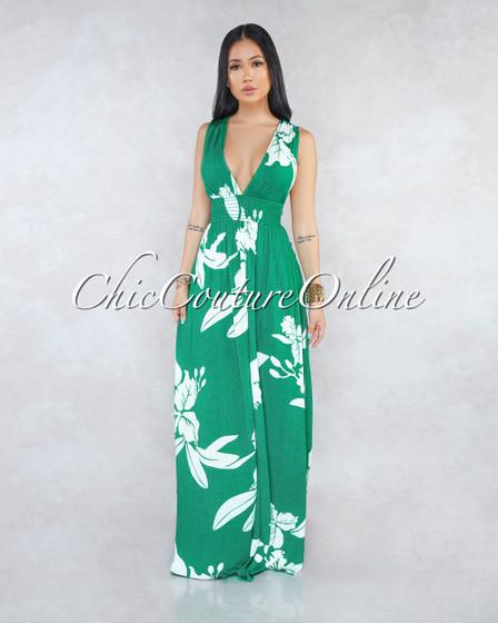 Stassia Green White Floral Print Halter Maxi Dress