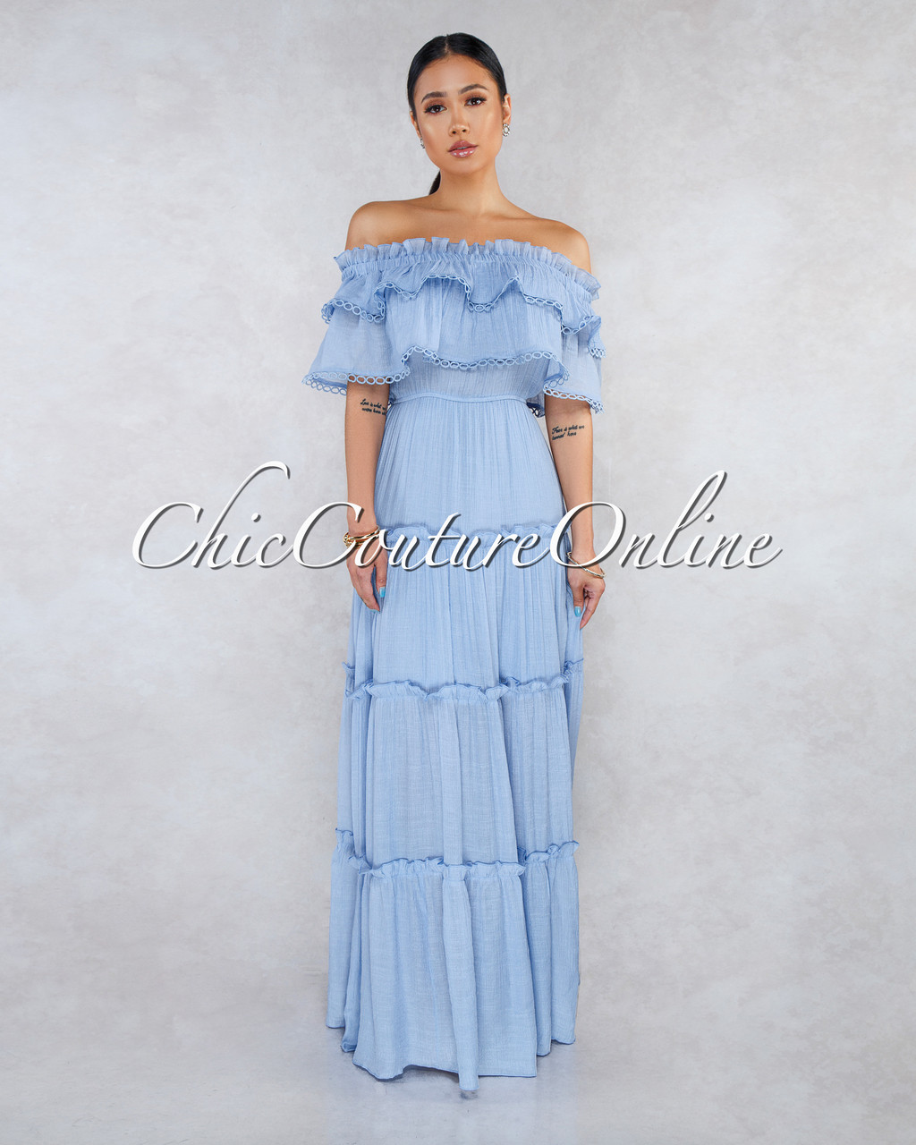59fcc0ce80 Abba Baby Blue Off-The-Shoulder Ruffle Maxi Dress. Price   70.00. Image 1