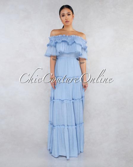 Abba Baby Blue Off-The-Shoulder Ruffle Maxi Dress