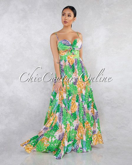 Catarina Green Multi-Color Leaf Print Knot Pleated Maxi Dress