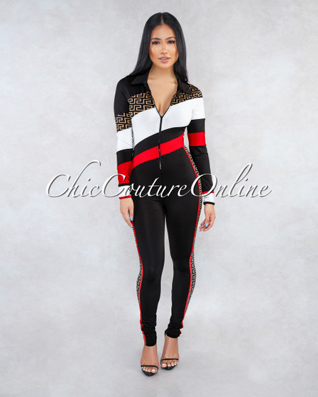 Deena Black White Red Fret Print Front Zipper Jumpsuit