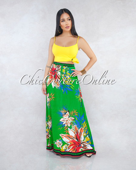 Jayna Green Tropical Floral Print Maxi Skirt
