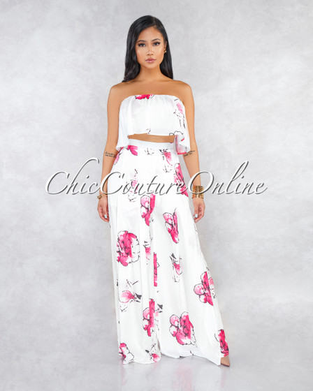Andesia Off-White Pink Floral Print Two Piece Pants Set