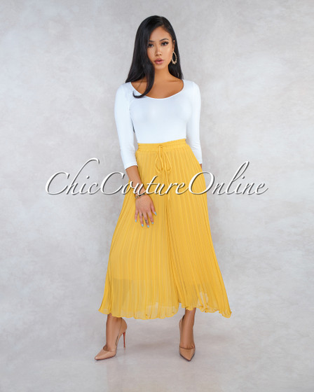 Paulina Marigold Midi Length Wide Pleated Pants