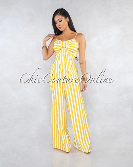 Ballari Yellow White Stripes Front Tie Jumpsuit