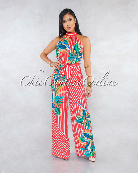Marquis Red Stripes Floral Print Halter Jumpsuit