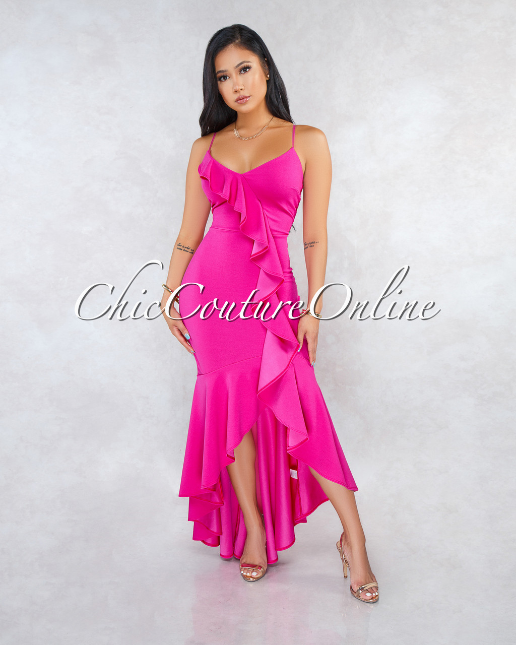 84da230162d Constance Fuchsia Ruffle Accent High-Low Maxi Dress. Price   50.00. Image 1