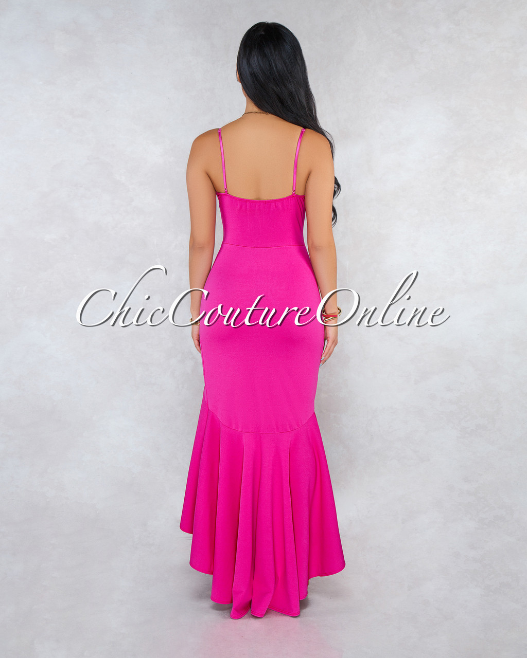 2b388fe0e1f Constance Fuchsia Ruffle Accent High-Low Maxi Dress. Price   50.00. Image  1. Larger   More Photos