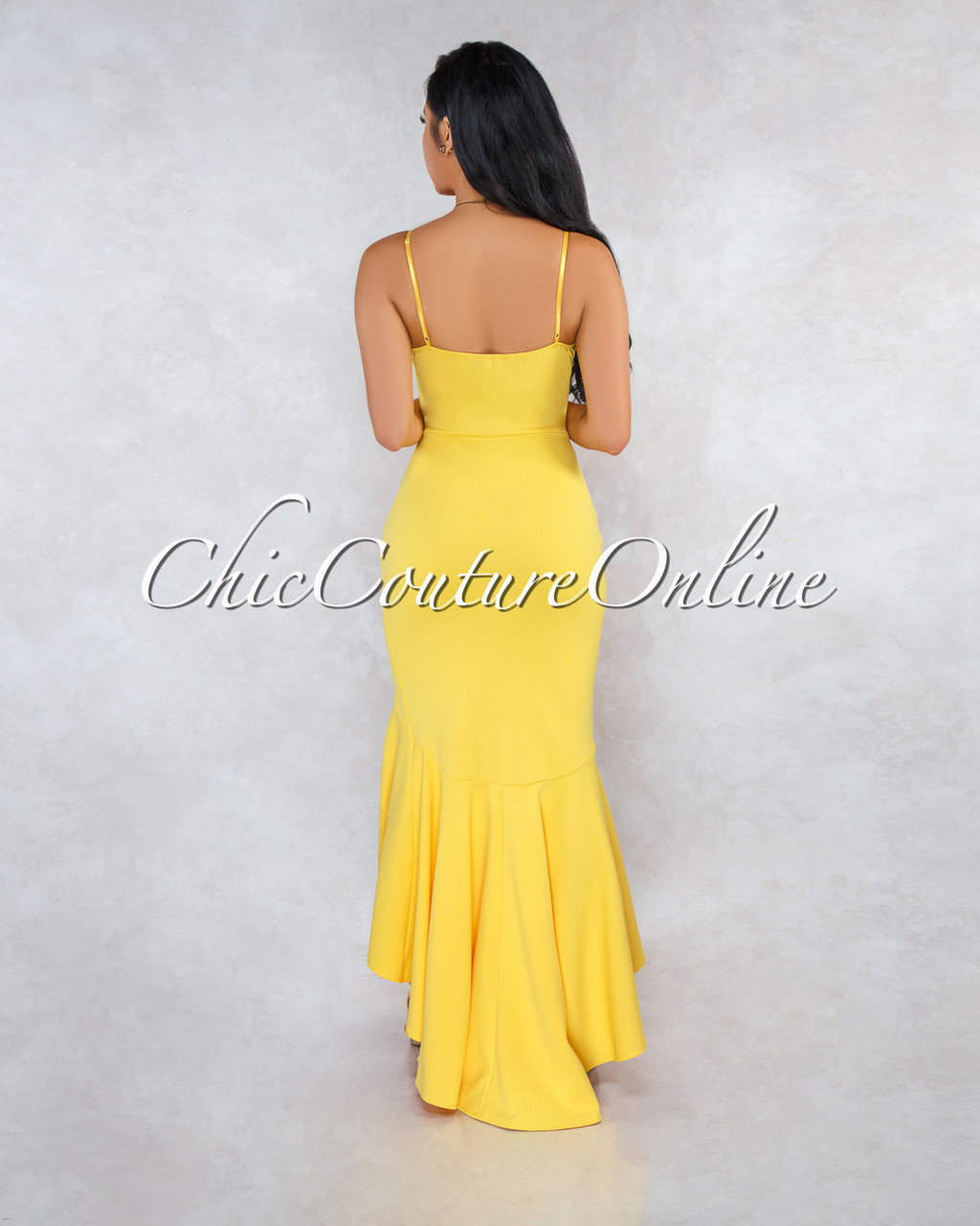 e29e56154d8 Constance Yellow Ruffle Accent High-Low Maxi Dress. Price   50.00. Image 1.  Larger   More Photos