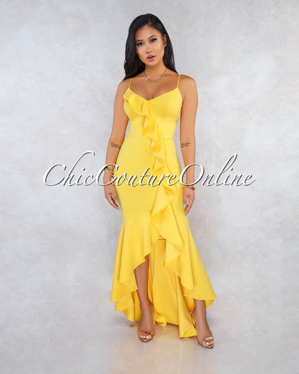 50a8cf72118 Constance Yellow Ruffle Accent High-Low Maxi Dress. Price   50.00. Image 1
