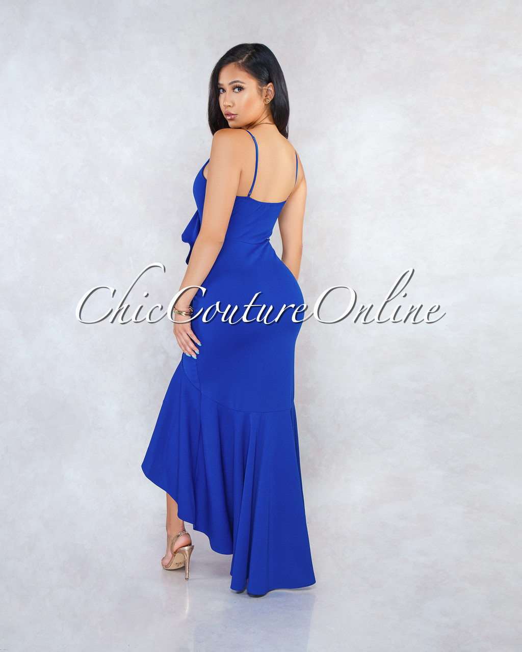 f2aec43782e Constance Blue Ruffle Accent High-Low Maxi Dress. Price   50.00. Image 1.  Larger   More Photos