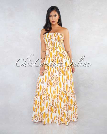 Jasmine Ivory Yellow Leaf Print Ruched Top Maxi Dress