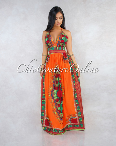 Thalita Orange Tribal Print Maxi Dress