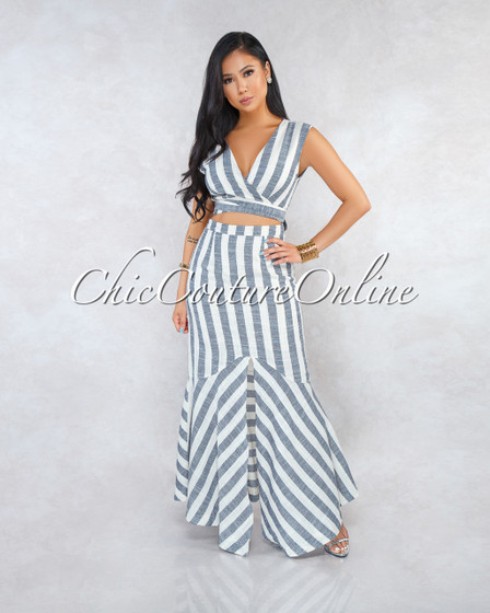 Macy Taupe Black Stripes Front Tie Cut-Out Maxi Dress