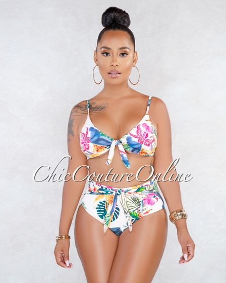 Monetta Beige Floral Print Front Tie Two Piece Swimsuit