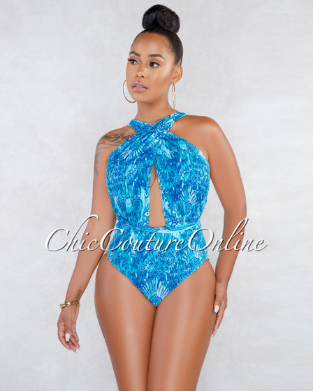 Darcela Aquamarine Multi-Way One Piece Swimsuit