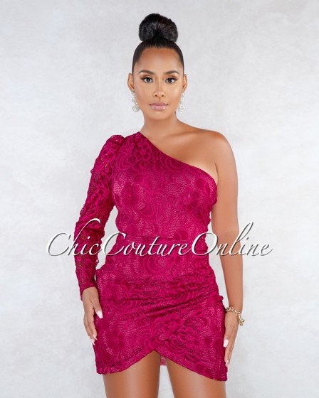 Sloan Magenta Lace Single Long Sleeve Mini Dress