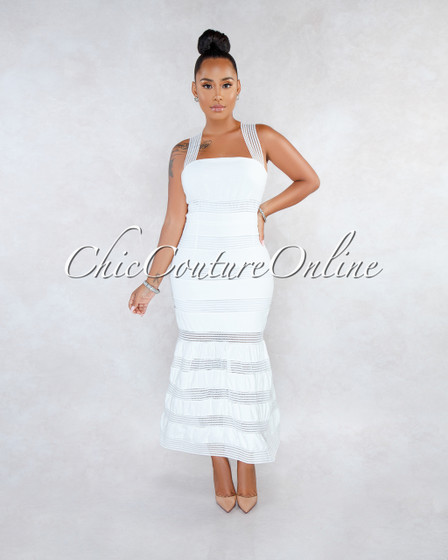 Madison Off-White Lace Stripes Midi Dress