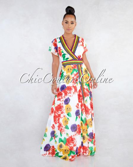 Lilah Off-White Floral Print Wrap Shift Maxi Dress