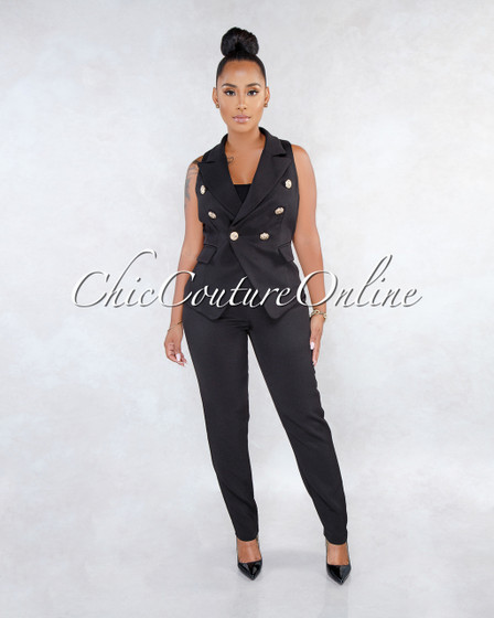 Giovanina Black Double Breast Vest Two Piece Set