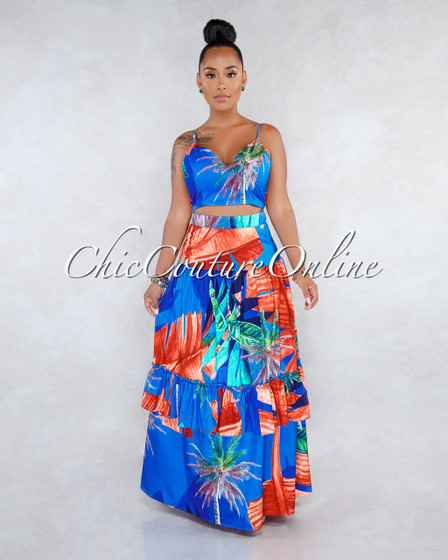 Abdiel Blue Rust Palm Print Two Piece Skirt Set