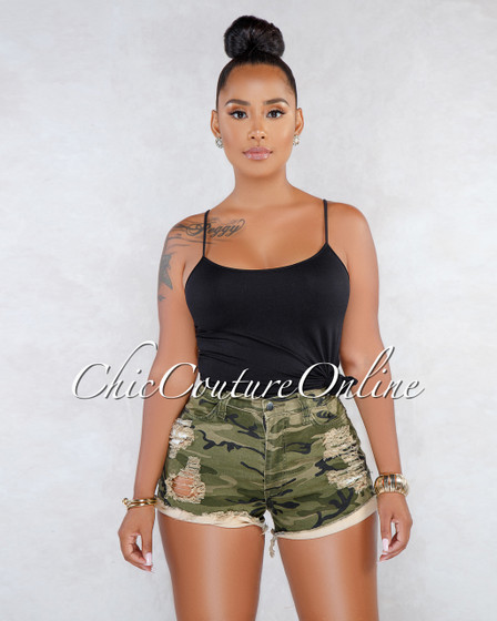 Blaise Camo Denim Destroyed Mini Shorts