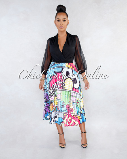 Blare Baby Blue Multi-Color Print Pleated Midi Skirt
