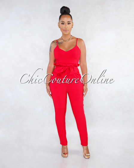 Kay Red V-Neck Paper Bag Waist Jumpsuit