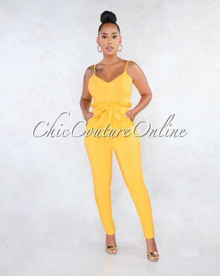 Kay Yellow V-Neck Paper Bag Waist Jumpsuit