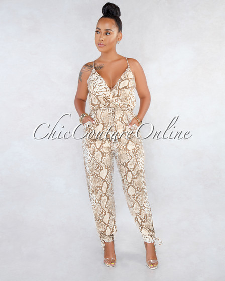 Seliah Brown Snake Print Wrap Neck Jogger Jumpsuit