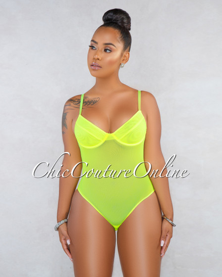 Takara Neon Green Mesh See-Through Bodysuit