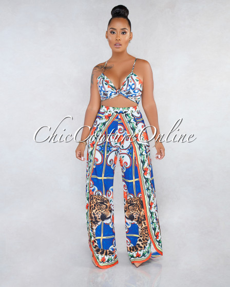 Kirah Off-White Multi-Color Print Slit Pants Two Piece Set