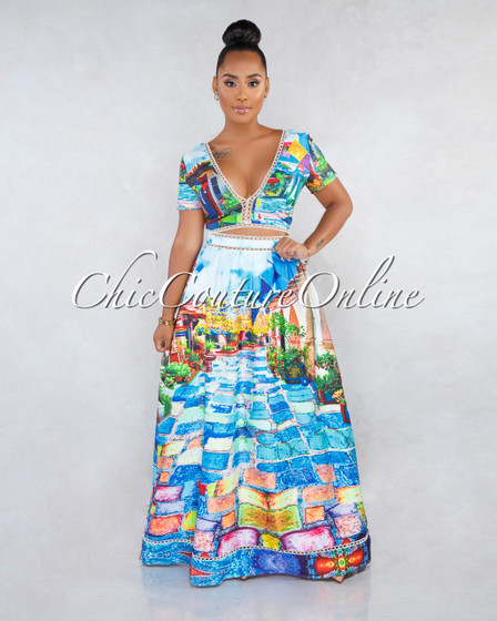Taio Multi-Color Print Eyelet Crochet Accent Two Piece Skirt Set