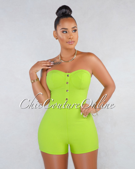 Melgar Lime Green Padded Cups Front Gold Buttons Romper