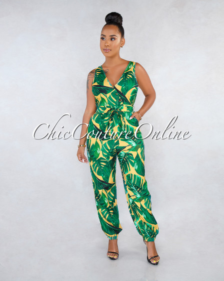 Sandro Yellow Green Leaf Print Gold Buttons Jogger Jumpsuit