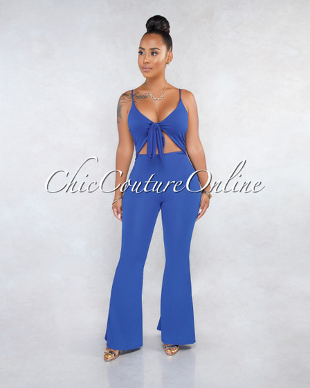 Quintanilla Royal Blue Front Tie Bell Legs Jumpsuit