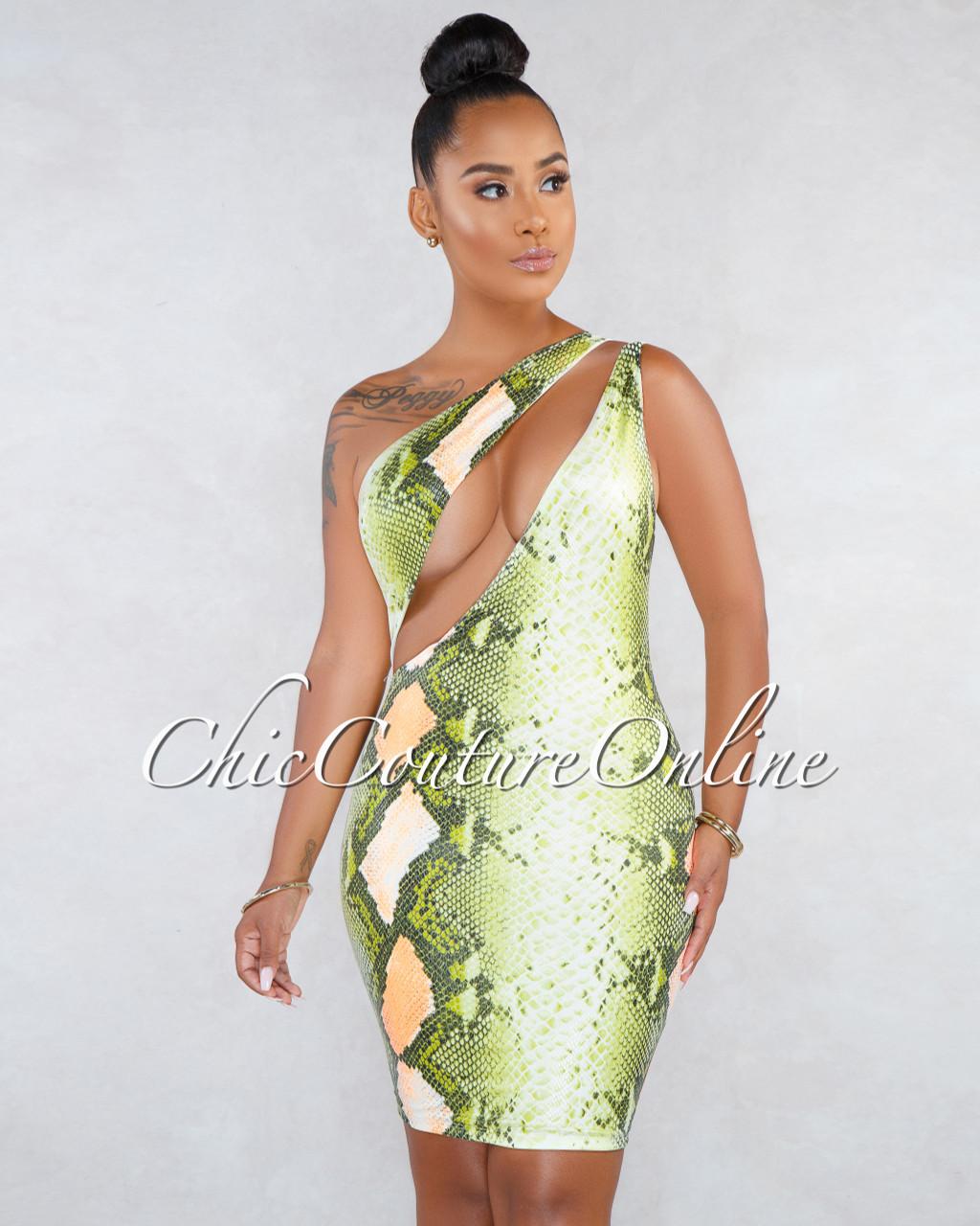 ccc6f8f9e0 Aleja Green Orange Snake Print Front Cut-Out Mini Dress