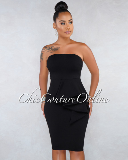 Richenda Black Strapless Ruffle Accent Midi Dress