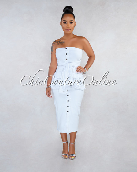Tanika Off-White Denim Faux Sleeves Front Tie Midi Dress