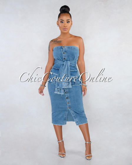 Tanika Medium Denim Faux Sleeves Front Tie Midi Dress