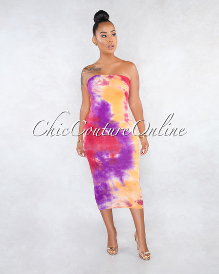 Tulipan Purple Multi-Color Tie-Dye Multi-Way Dress