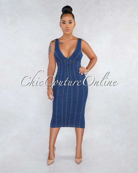 Yelsy Dark Denim Stripes V Neck Midi Dress