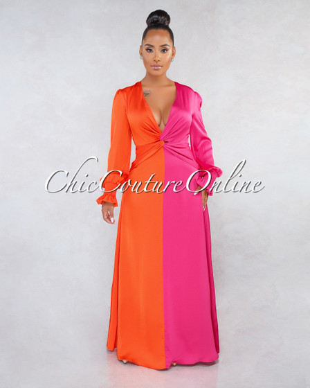 Jackie Fuchsia Orange Two-Tone Front Knot Maxi Dress