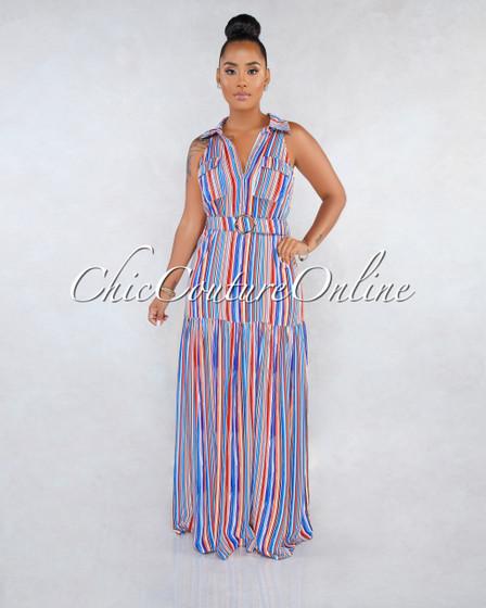 Felisha Blue Multi-Color Stripes Shirt Belt Maxi Dress